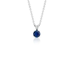 Sapphire Solitaire Pendant in 18k White Gold (5mm)