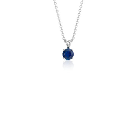 Blue Nile Sapphire and Diamond Solitaire Pendant in 18k White Gold (5mm)