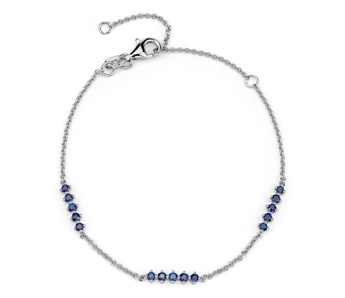 Sapphire Station Bar Bracelet in 14k White Gold (1.9mm)