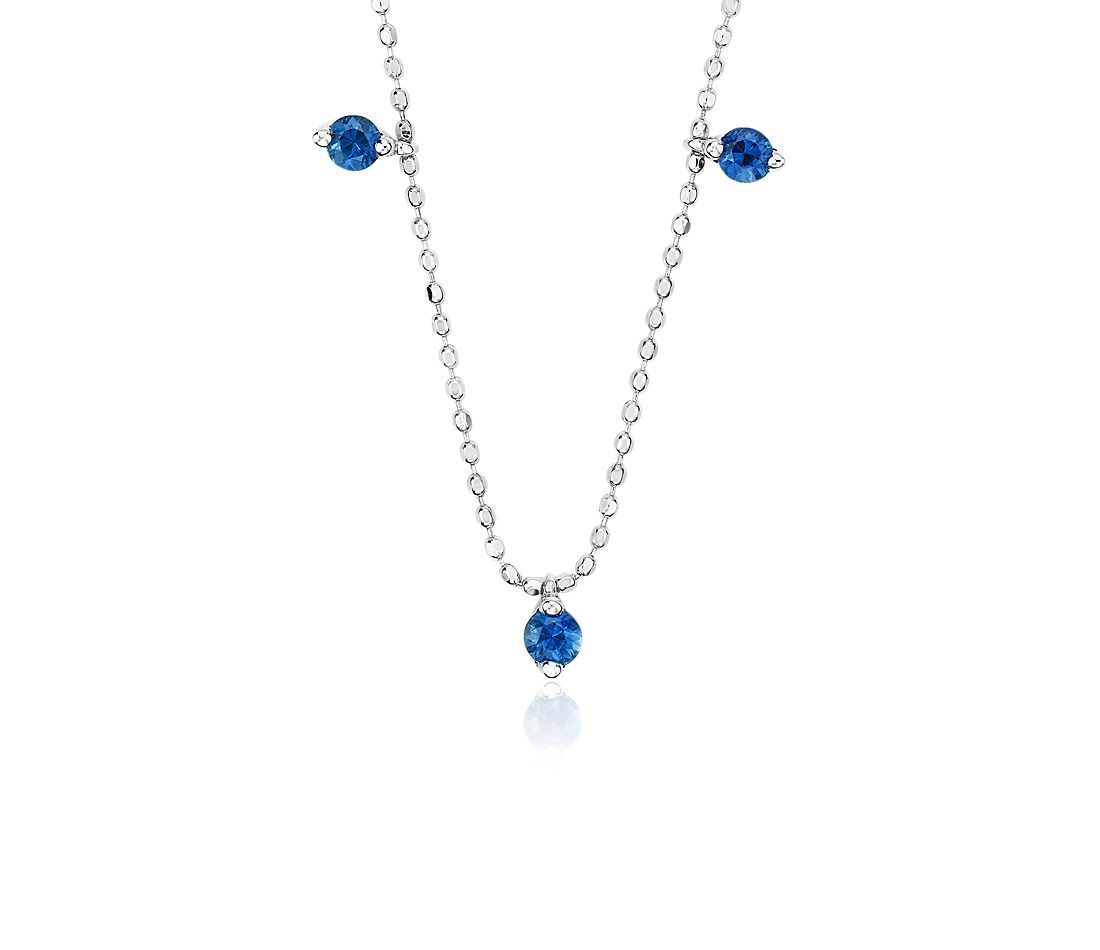 Sapphire Single Strand Station Necklace in 18k White Gold (2.3mm)