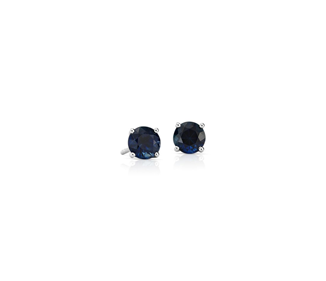 Sapphire Stud Earrings in 18k White Gold (5mm)