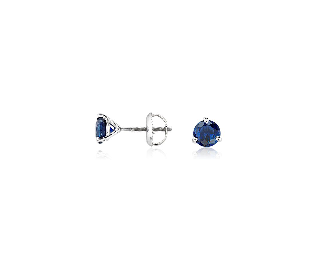 Premier Sapphire Stud Earrings in Platinum (5mm)