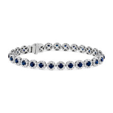 NEW Sapphire with Diamond Halo Bracelet in 14k White Gold