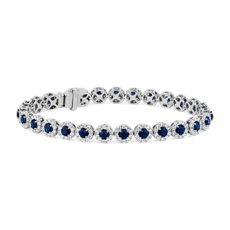 新款 14k 白金蓝宝石和钻石光环手链