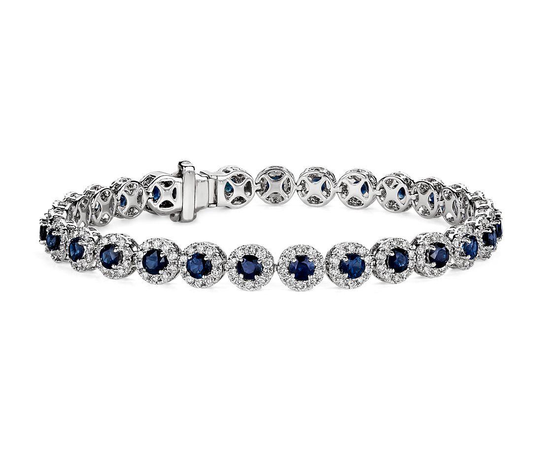 18k 白金蓝宝石和钻石光环手链對戒