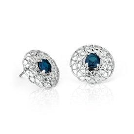Angela George Sapphire Woven Halo Stud Earrings in Sterling Silver (4.5mm)
