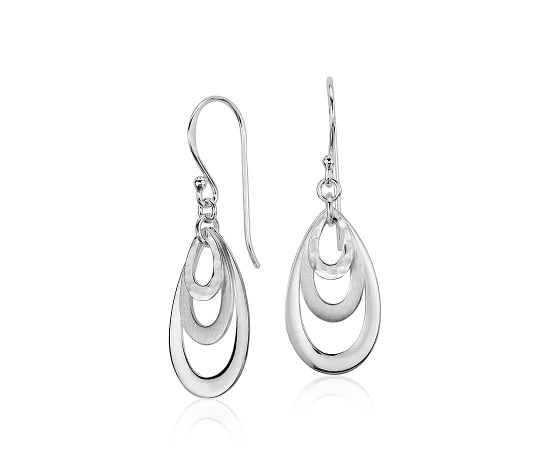 Satin Drop Earrings in Sterling Silver