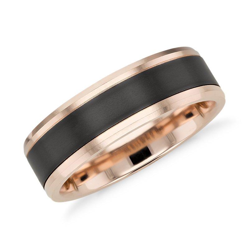 Satin Finish Wedding Ring in Black Titanium and 14k Rose Gold  (7