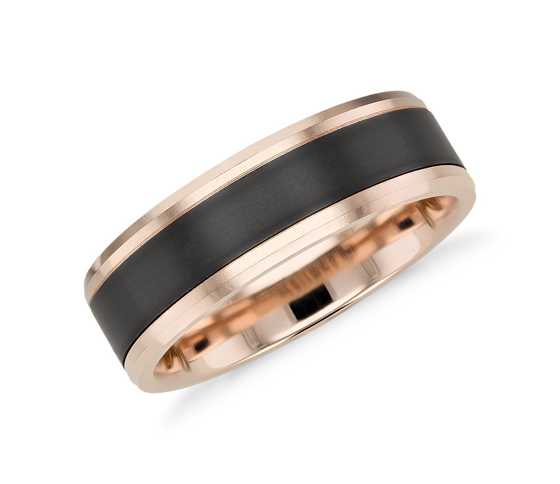 satin finish wedding ring in black titanium and 14k rose gold 7mm - Black Gold Wedding Ring
