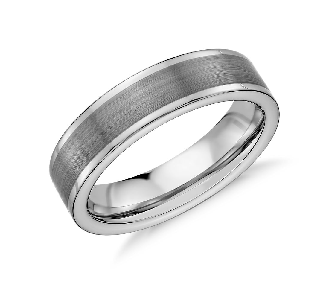 Satin Finish Wedding Ring in Grey Tungsten Carbide (6mm)