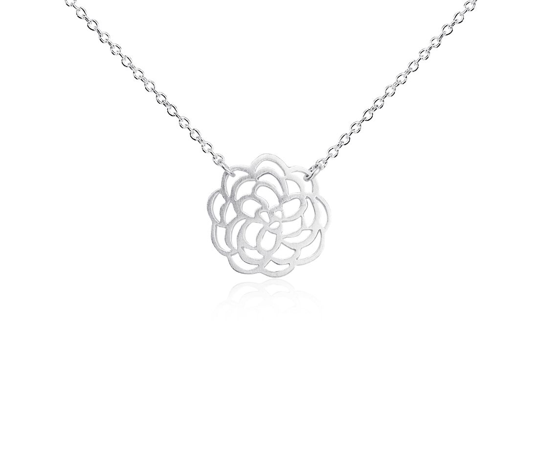 Floral Necklace in Satin Sterling Silver