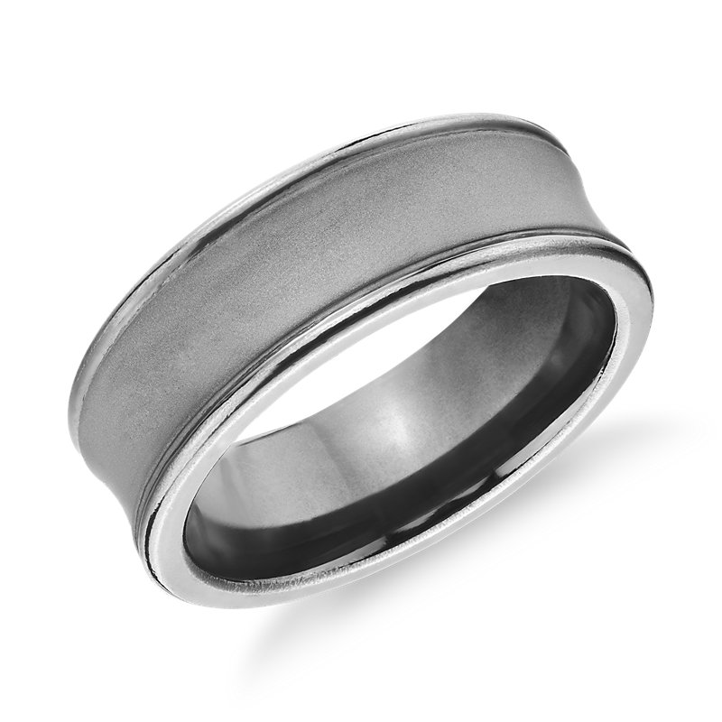 Satin Glazed Concave High Polish Beveled Wedding Band in Tantalum (7.5mm)