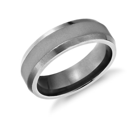 Satin Glazed High Polish Beveled Wedding Band In Tantalum 7mm