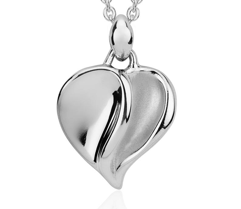 Pendentif cœur satin en argent sterling