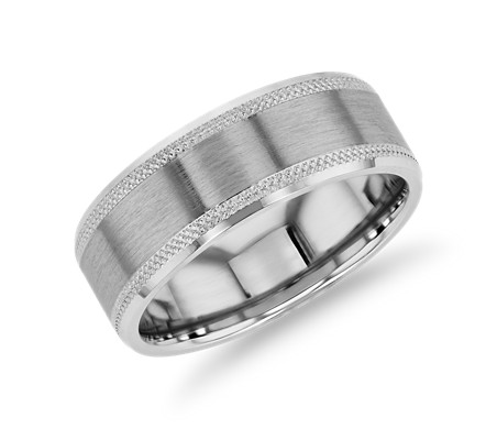 Satin Inlay Knurled Edge Wedding Band in 14k White Gold (8mm)