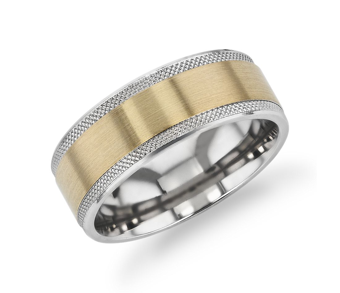 Satin Inlay Knurled Edge Wedding Band in 14k Yellow and 14k White Gold (8mm)