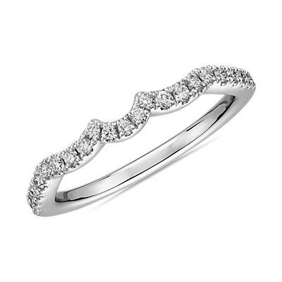 14k 白金曲線扇貝形鑽石結婚戒指(1/5 克拉總重量)
