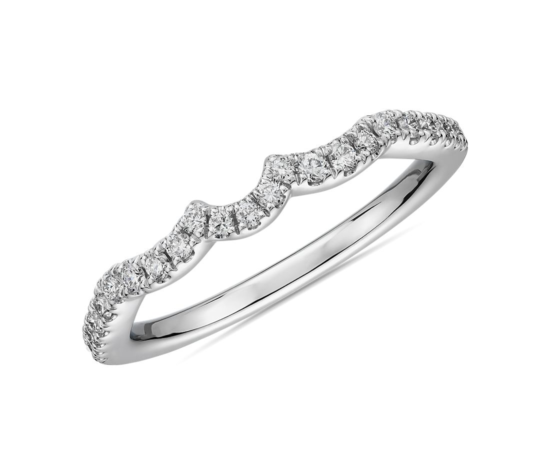 Scallop Curved Diamond Wedding Ring in 14k White Gold (1/5 ct. tw.)