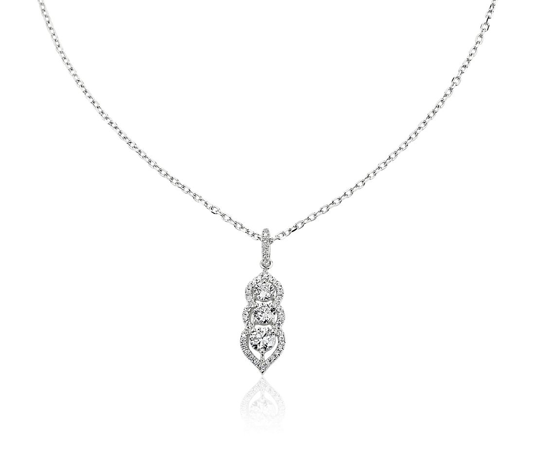 Scalloped Halo Three-Stone Drop Pendant in 14K White Gold (3/4 ct. tw.)
