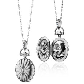 Scalloped Oval Locket with White Sapphires in Sterling Silver