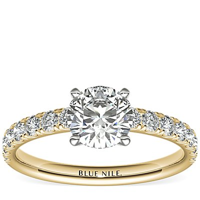 Scalloped Pavé Diamond Engagement Ring in 18k Yellow Gold