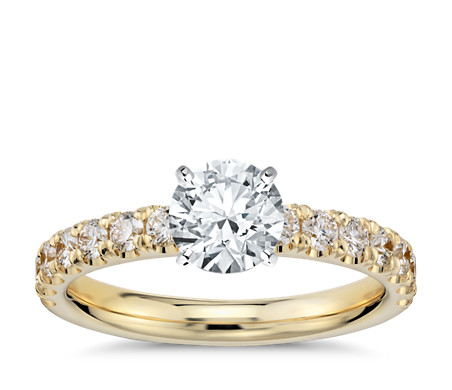Scalloped Pavé Diamond Engagement Ring in 18k Yellow Gold (2/5 ct. tw.)