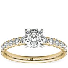 Bague de fiançailles festonnée en diamants sertis pavé en or jaune 18carats (0,38carat, poids total)
