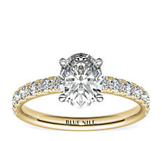 Scalloped Pavé Diamond Engagement Ring in 18k Yellow Gold (0.38 ct. tw.)