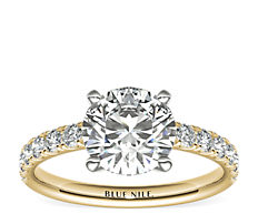 Scalloped Pavé Diamond Engagement Ring in 18k Yellow Gold (3/8 ct. tw.)