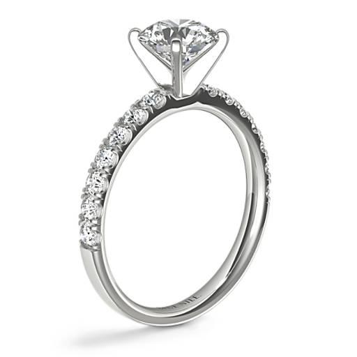 扇貝形密釘鑽石訂婚戒指