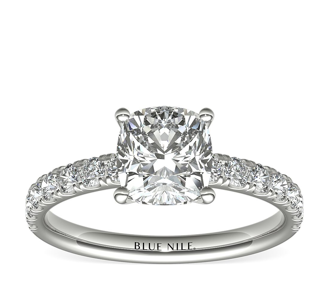2.03ct.CU in Scalloped Engagement PLAT 2/5 CTW