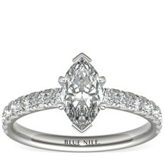 Scalloped Pavé Diamond Engagement Ring in Platinum (3/8 ct. tw.)