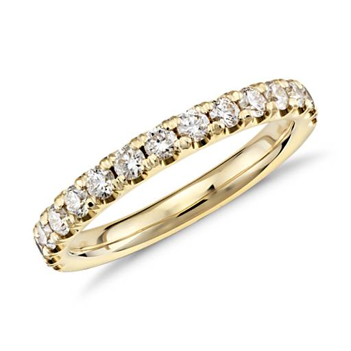 Scalloped Pavé Diamond Ring in 18k Yellow Gold