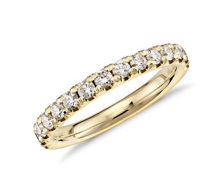 Scalloped Pavé Diamond Ring in 18k Yellow Gold 1 2 ct tw