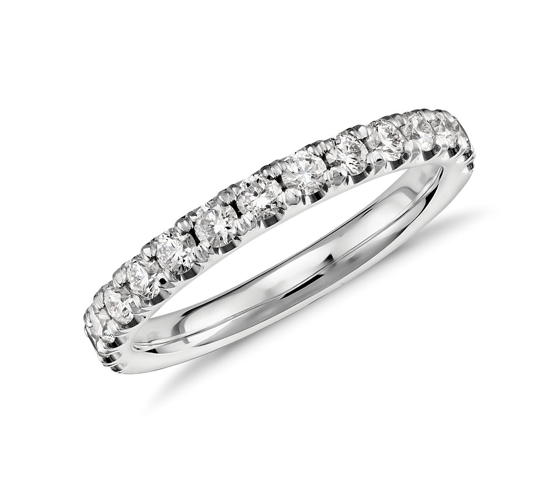 scalloped pav diamond ring in platinum 12 ct tw - Wedding Band Rings