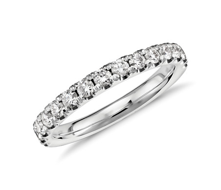 Scalloped Pavé Diamond Ring In Platinum 1 2 Ct Tw