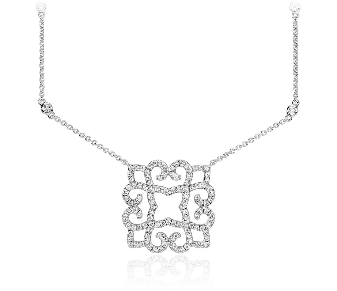 Scroll Diamond Necklace in 14k White Gold