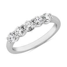 新款 14k 白金Selene 5 Stone Diamond Anniversary Ring (3/4 克拉總重量)