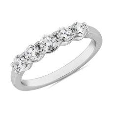 新款鉑金Selene 5 Stone Diamond Anniversary Ring (3/4 克拉總重量)