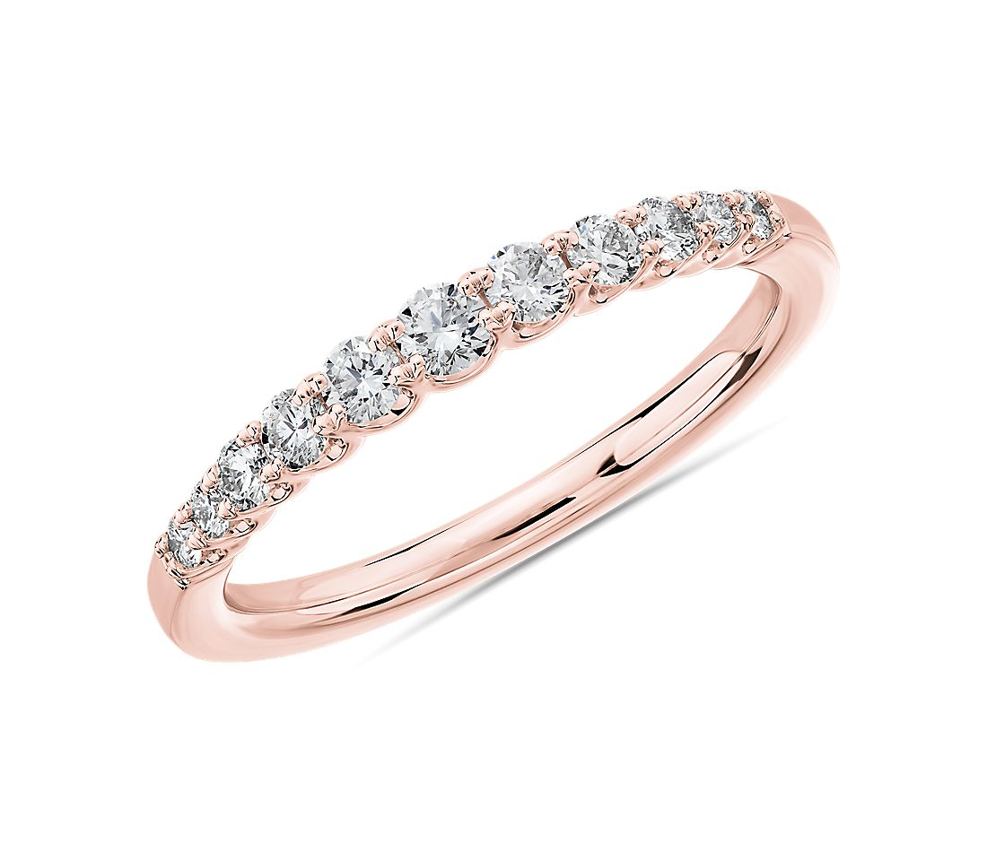 Selene Graduated Diamond Anniversary Ring in 14k Rose Gold (1/3 ct. tw.)