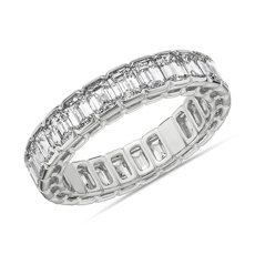 NEW Semi-Bezel Emerald Cut Diamond Eternity Ring in 18k White Gold (3 3/4 ct. tw.)