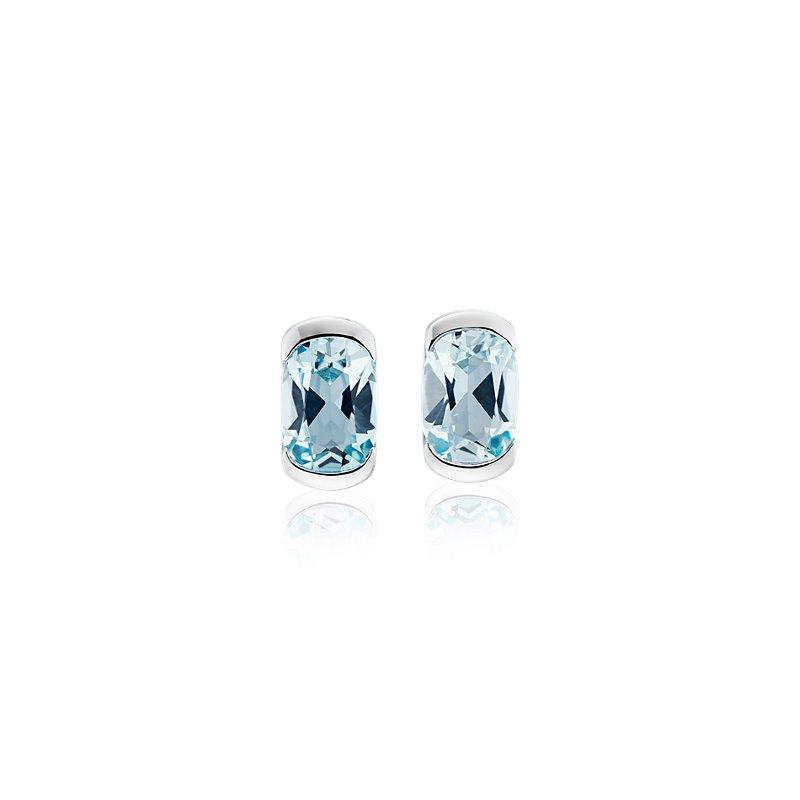 Semi-Bezel Oval Blue Topaz Earrings in 14k White Gold (7x5mm)