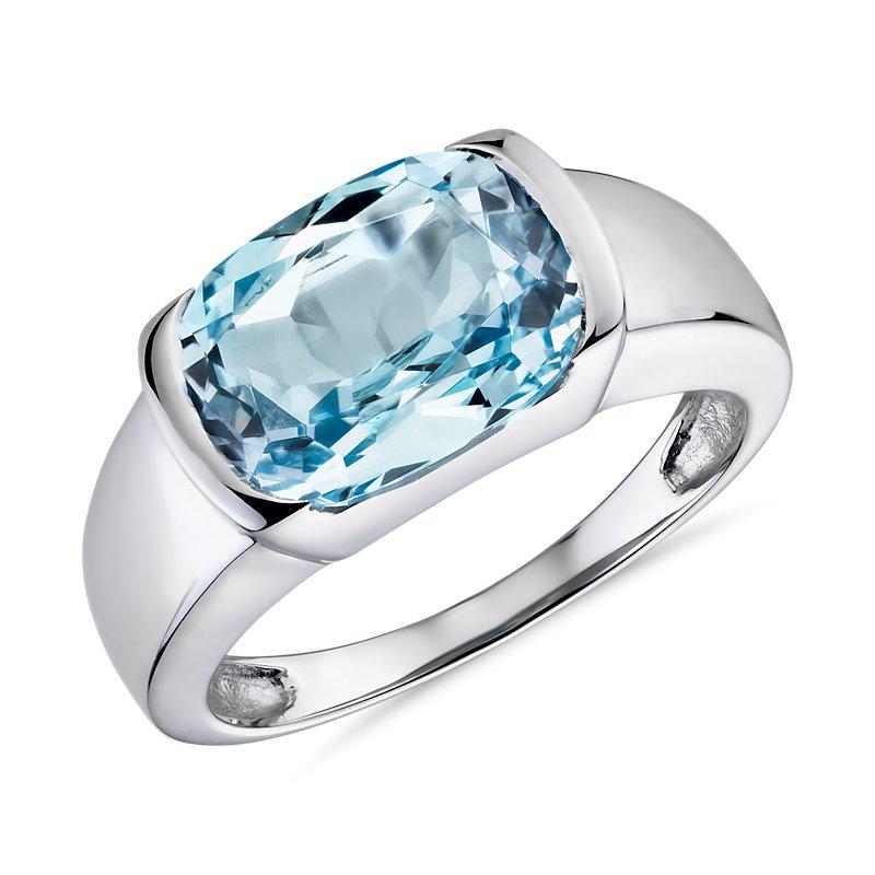 Semi-Bezel Oval Blue Topaz Fashion Ring in 14k White Gold (11x8mm