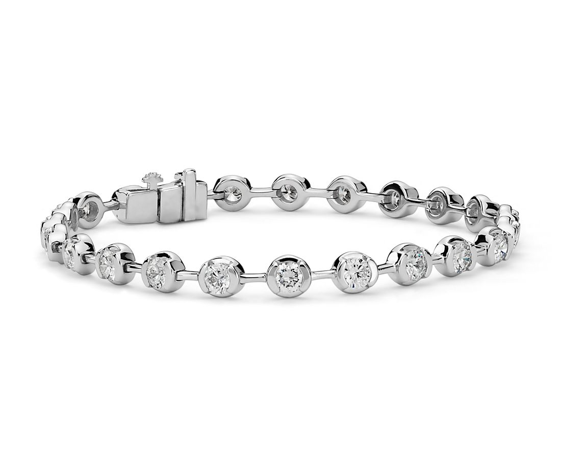 Semi-Bezel Diamond Bracelet in 14K White Gold