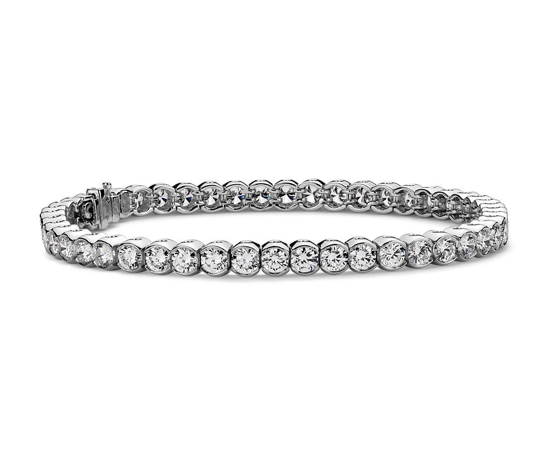 Brazalete de semibisel de diamantes en platino (7 qt. total)