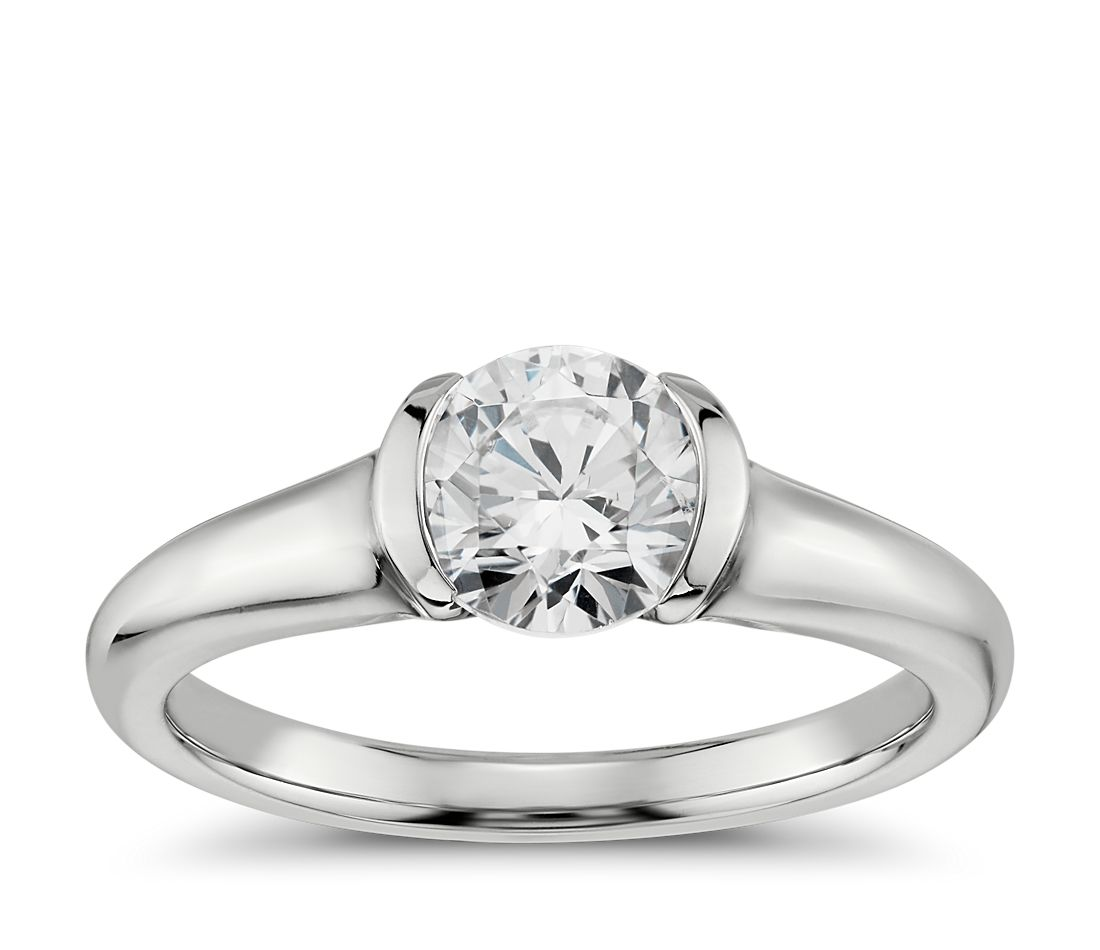 Semi-Bezel Solitaire Engagement Ring in 18k White Gold