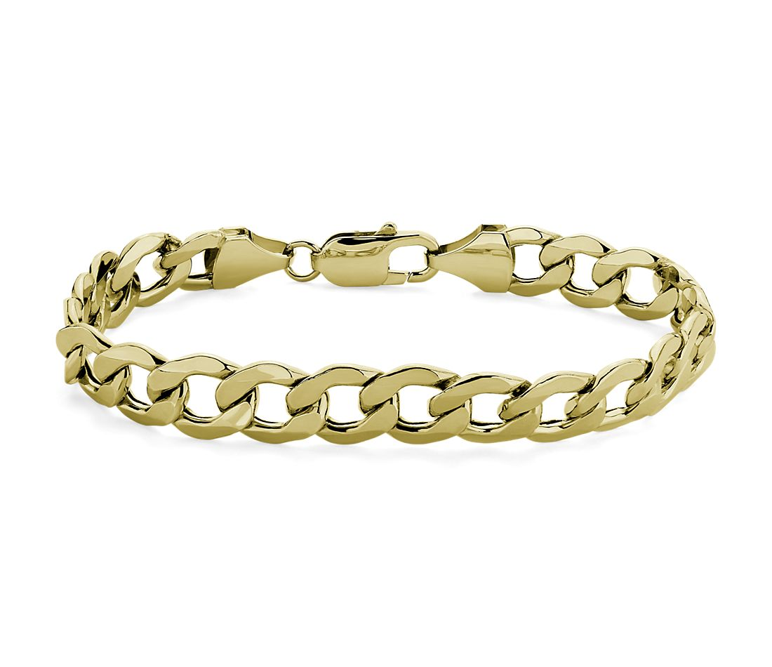 Semi-Solid Curb Link Chain Bracelet in 14k Yellow Gold (8mm)