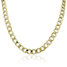 NEW Semi-Solid Curb Link Chain Necklace in 14K Yellow Gold (8mm)