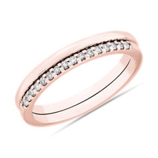 NEW Set Of 2 Plain And Pavé Bands in 14k Rose Gold (.09 ct. tw.)