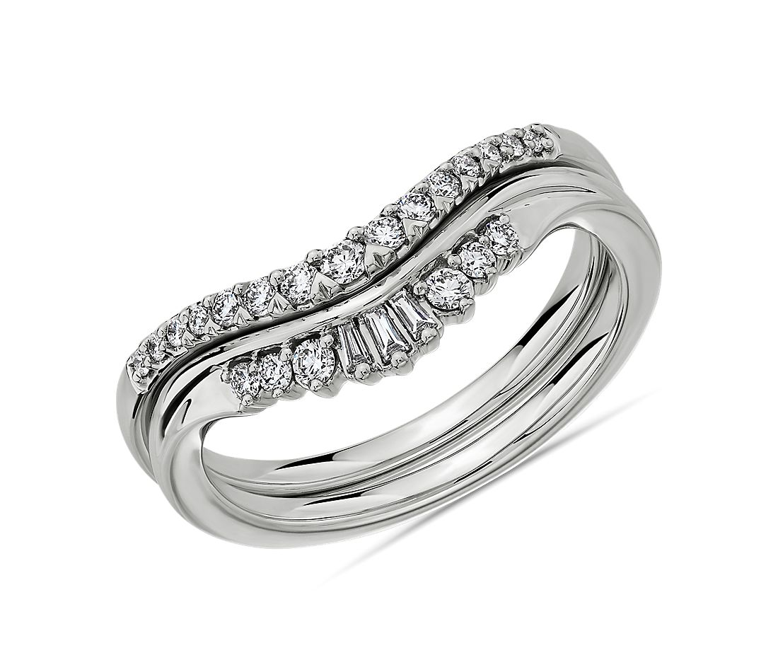 Set of 2 - Trio Baguette and Pavé Diamond Tiara Wedding Rings in 14k White Gold - I/SI2 (0.23 ct. tw.)